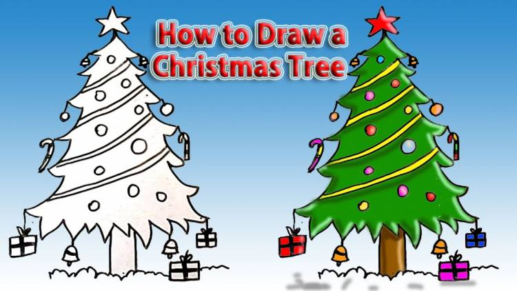 How To Draw A Christmas Tree Step By Step Drawing Guides Gift